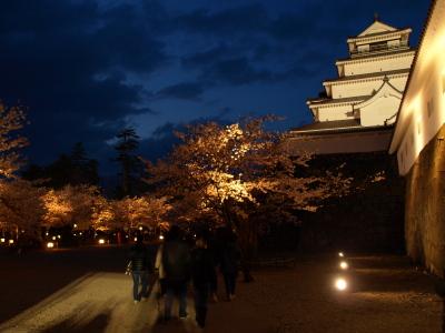 鶴ヶ城天守閣と夜桜