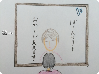 鏡に映るおかー