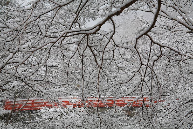 雪、西明寺橋