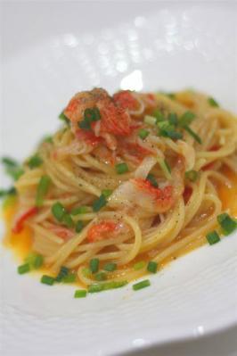 カニボナーラのスパゲティ
