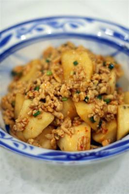 長芋と鶏ひき肉のピリ辛炒め