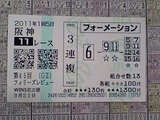 2011年03月21日阪神11Rフィリーズレビュー