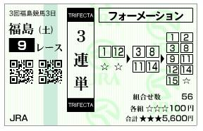 【馬券】1025福島9(日刊コンピ 馬券生活 的中 万馬券 三連単 札幌競馬)