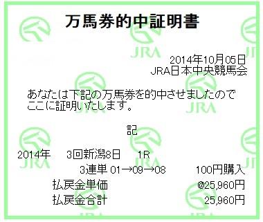 【万馬券獲得記録】1005新潟1