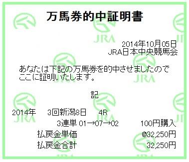 【万馬券獲得記録】1005新潟4