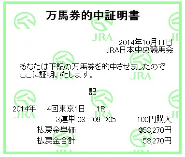 【万馬券獲得記録】1011東京1