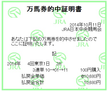 【万馬券獲得記録】1011東京3