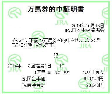 【万馬券獲得記録】1018福島11