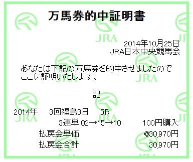 【万馬券獲得記録】1025福島5
