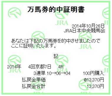 【万馬券獲得記録】1026京都7