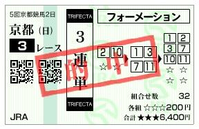 【的中馬券】1109京都3(日刊コンピ 馬券生活 的中 万馬券 三連単 札幌競馬)