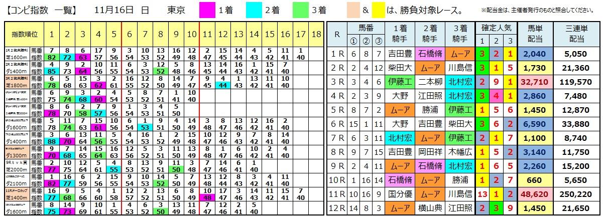 1116東京(日刊コンピ 馬券生活 的中 万馬券 三連単 札幌競馬)