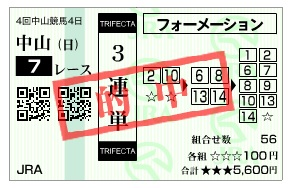 【的中馬券】1214中山7(日刊コンピ 馬券生活 的中 万馬券 三連単 札幌競馬)