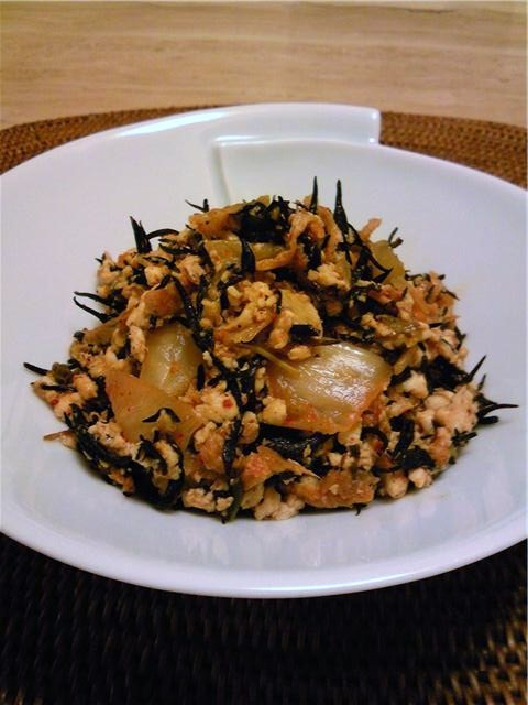 ひじきとキムチの炒り豆腐