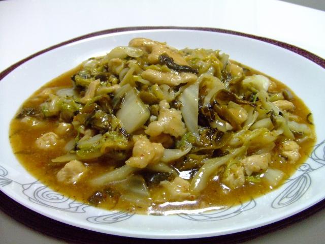ささみと白菜と辛子高菜の蒸し炒め♪