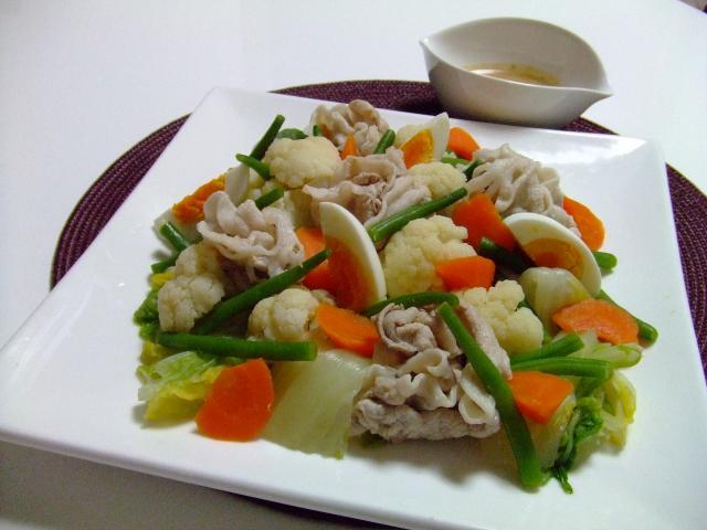 豚しゃぶと温野菜の彩りサラダ♪