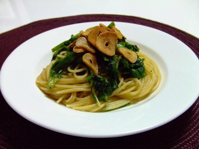 セリとにんにくのスパゲティーニ♪