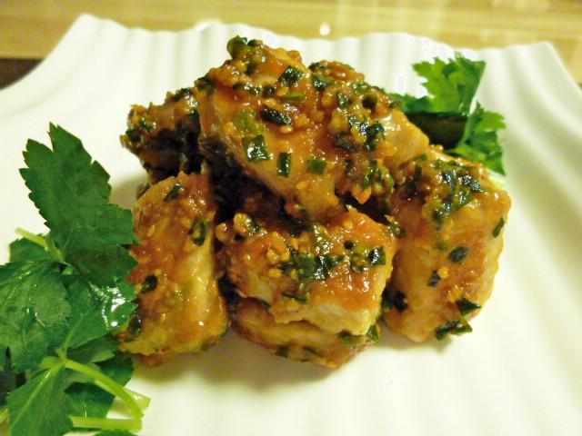 サイコロ豚のネギ味噌焼き2