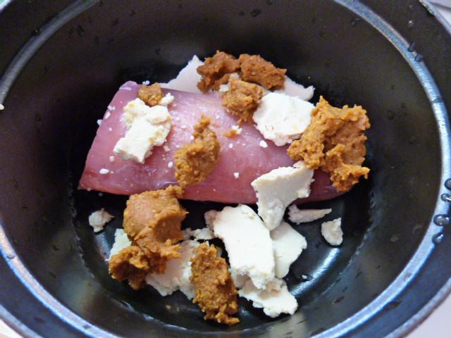 ヒレ粕味噌煮手順1