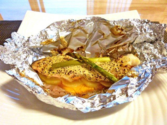 甘塩鮭の粒マスタード包み焼き♪