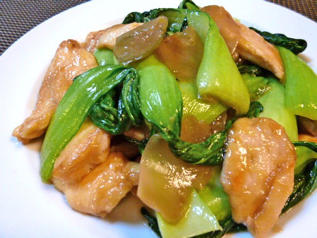 胸肉とチンゲン菜とザーサイの炒め♪1
