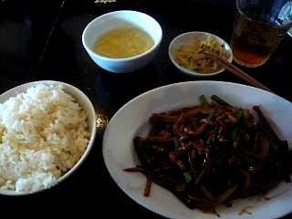 胡同三辣居(牛肉細切り炒め定食)