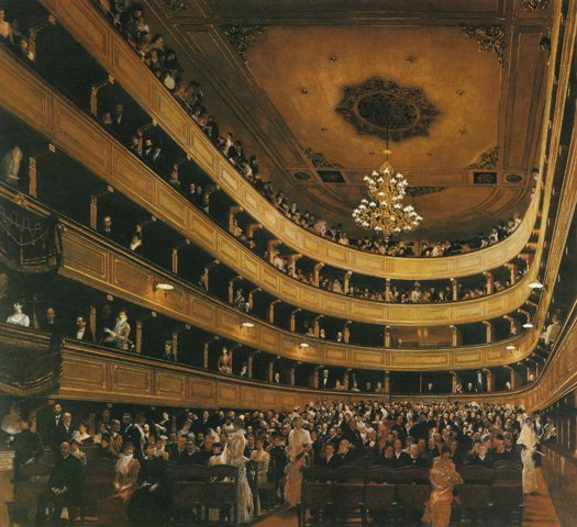 クリムト 「ウィーン、旧ブルク劇場の観客席から」(1888)