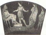 クレオンにアンティゴネーを告発する証人(古代の壺絵)