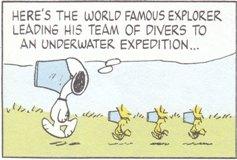 世界的に有名な探検家がダイバーチームを率いて水中探索に向かうところ