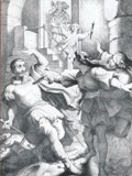 典獄ピツァロから夫を守るレオノーレ(右)