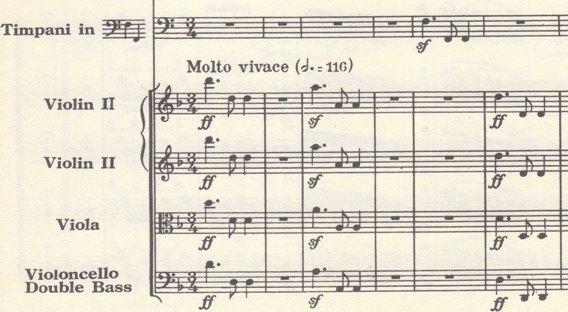 楽譜 ベートーヴェン第9~第2楽章冒頭(弦、ティンパニ パート)