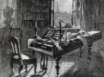 晩年のベートーヴェンの部屋を描いた絵(意図的に反転)