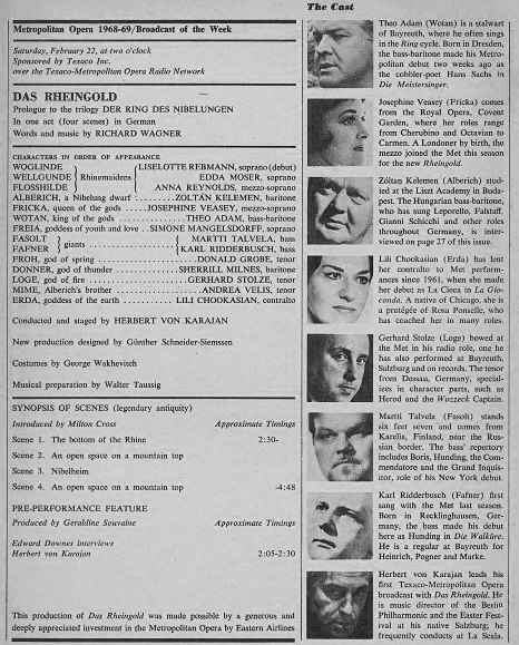 メト広告1969(カラヤン ラインの黄金)