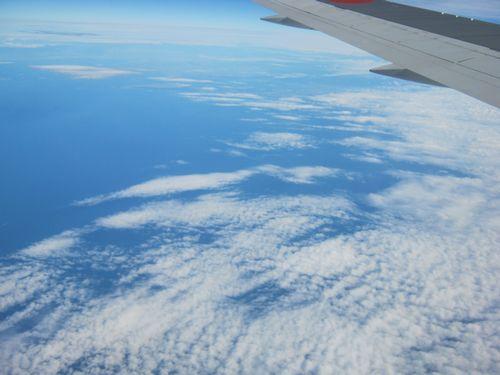 鱗雲の上空