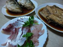 刺身とアラ煮