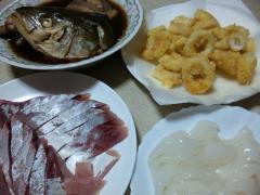 ハマチの刺身とアラ煮とケンサキの刺身とイカリング