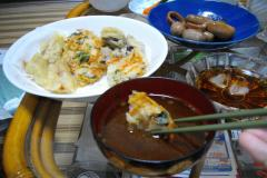天ぷら in みそ汁