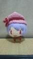 前回水色の毛糸で編んだので今回は薄紫色