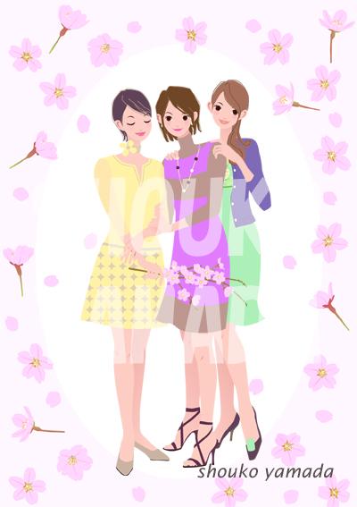 春 桜の季節 若い女性が3人 人物イラスト有料サンプル素材