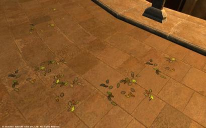 53日目その2 ウルダハのとある一角にこんな落ち葉が落ちている場所があったにゃ