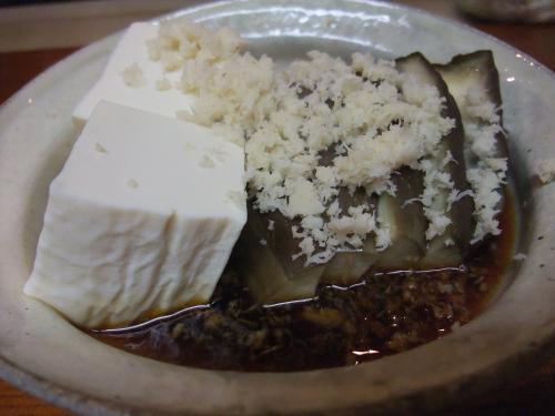 蒸しナス豆腐