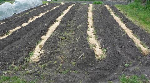 籾殻、米ぬか、刈り草を投入