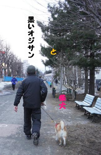 黒いオジサンと柴犬