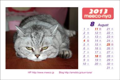 ミーコのカレンダー2013-08