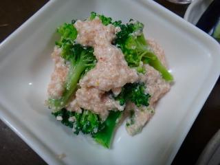 ブロッコリーの豆腐明太あえ0609