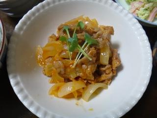 豚肉と玉ねぎのケチャップ蒸し