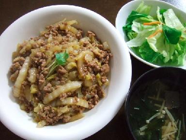 白菜とひき肉のあんかけご飯