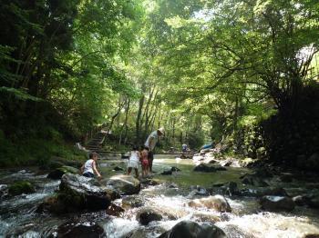 天然の川遊び