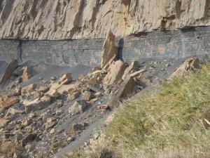 観音岩左側で新たな崩落