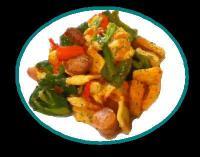 野菜とソーセージのラビオリ